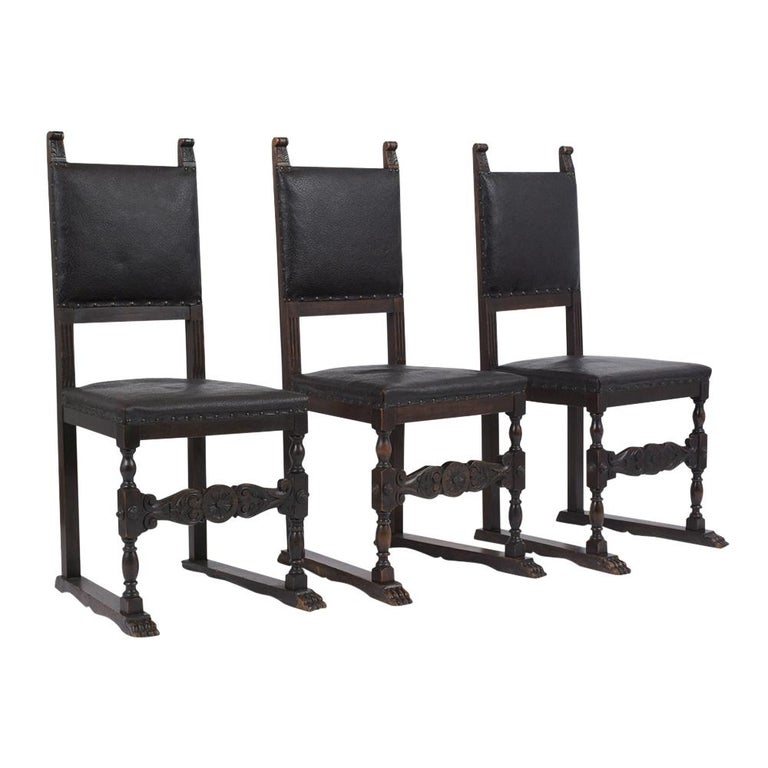 This 19th century set of six Renaissance dining chairs have been professionally restored, are made out of walnut wood with its original dark walnut color, and have been waxed and polished giving it a beautiful patina finish. These dining chairs