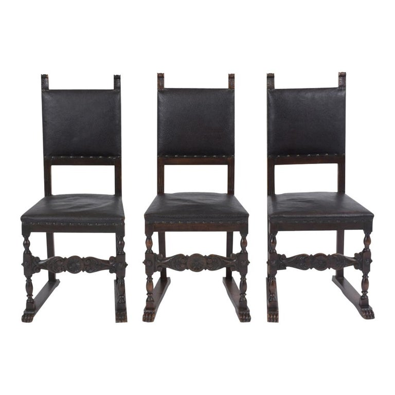 Renaissance Set of 19th Century Leather Dining Chairs For Sale