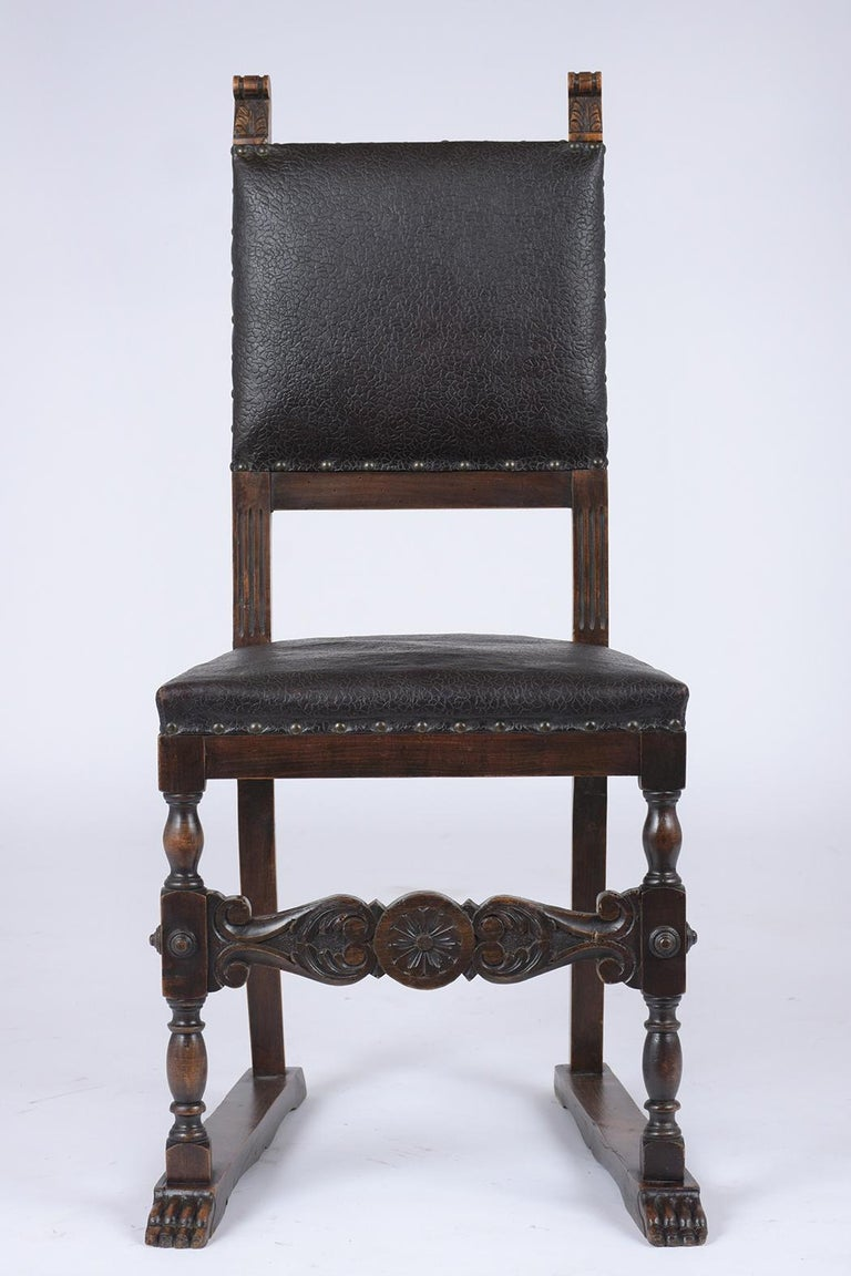 Italian Set of 19th Century Leather Dining Chairs For Sale