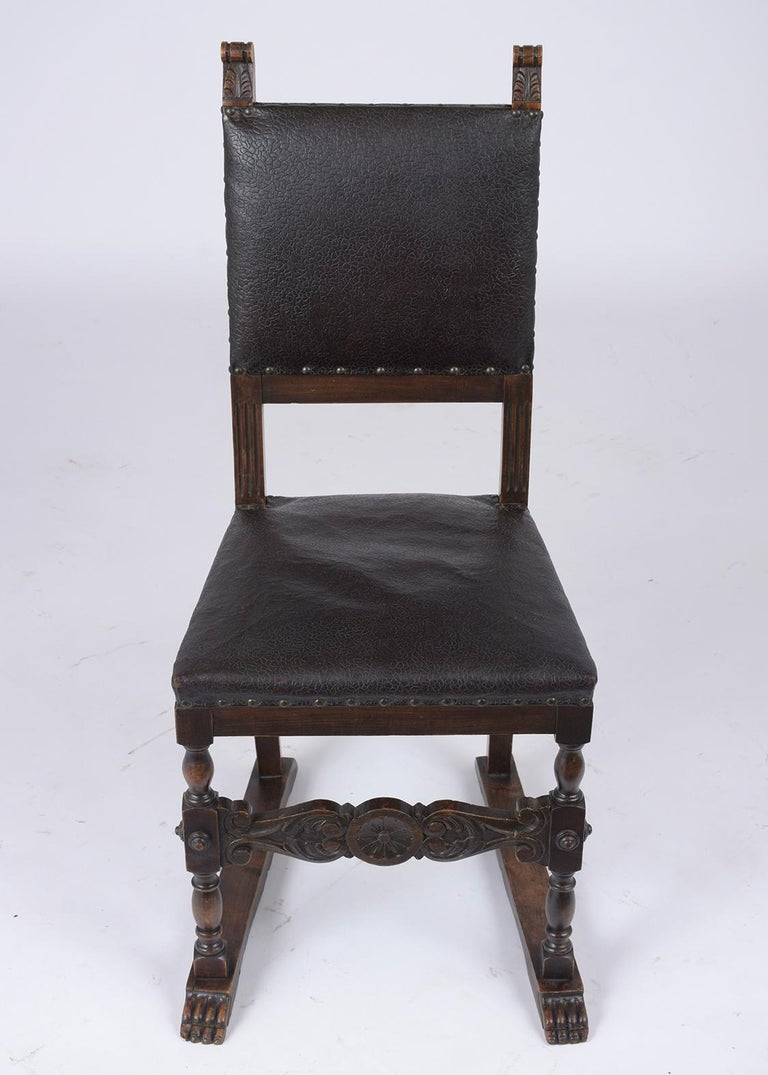 Patinated Set of 19th Century Leather Dining Chairs For Sale