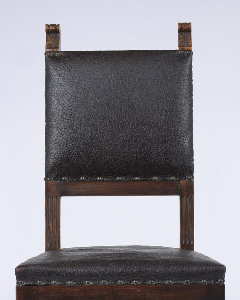 Set of 19th Century Leather Dining Chairs In Good Condition For Sale In Los Angeles, CA