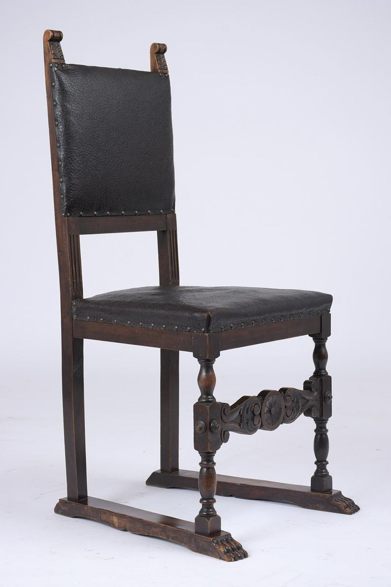 Set of 19th Century Leather Dining Chairs For Sale 1
