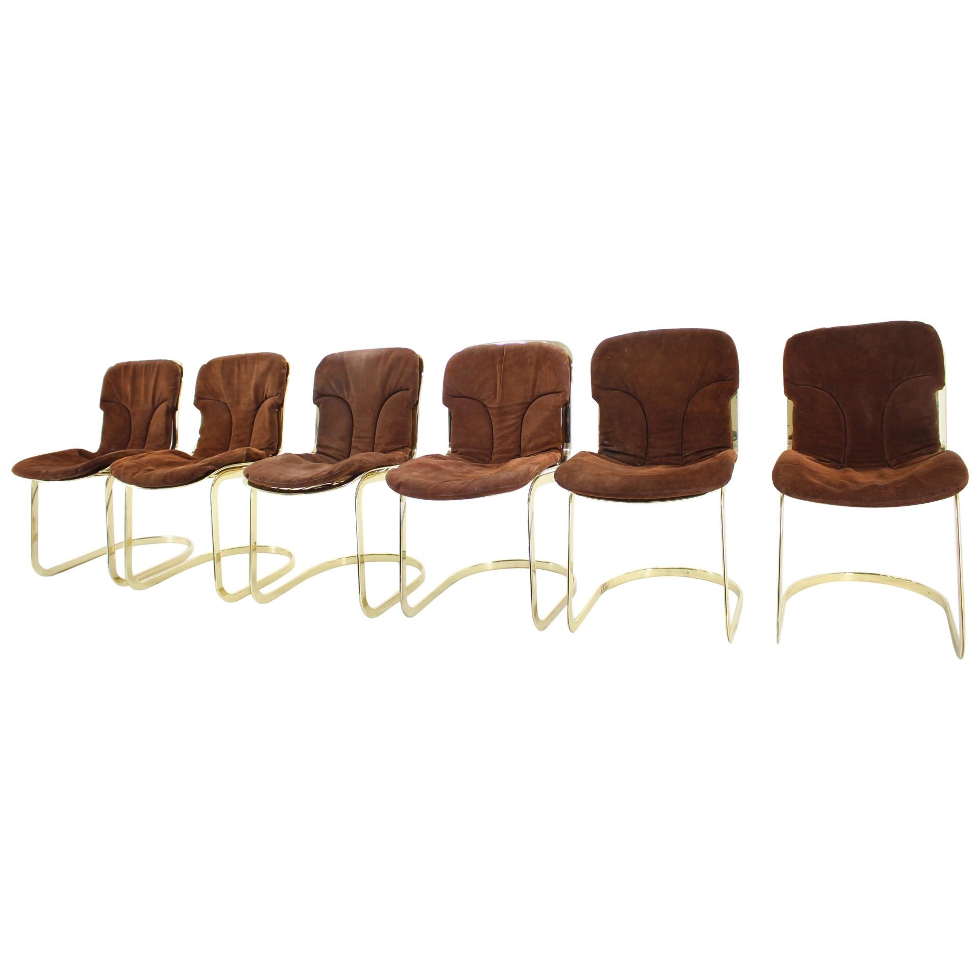 Set of Six Leather Italian Dining Chairs by Willy Rizzo for Cidue, 1970s