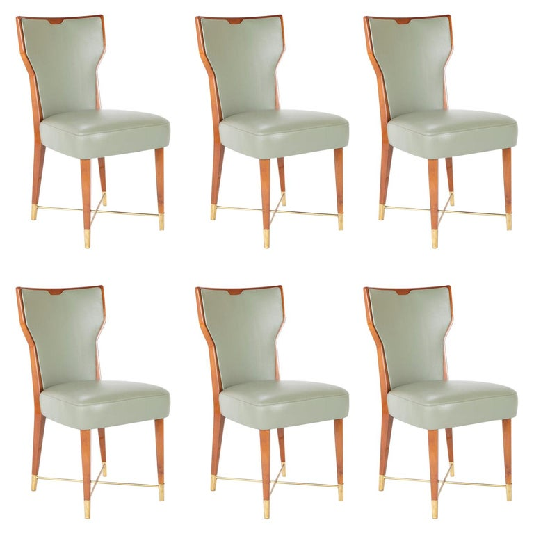 Set of Six Leather & Mahogany Dining Chairs Designed by Giorgio Ramponi