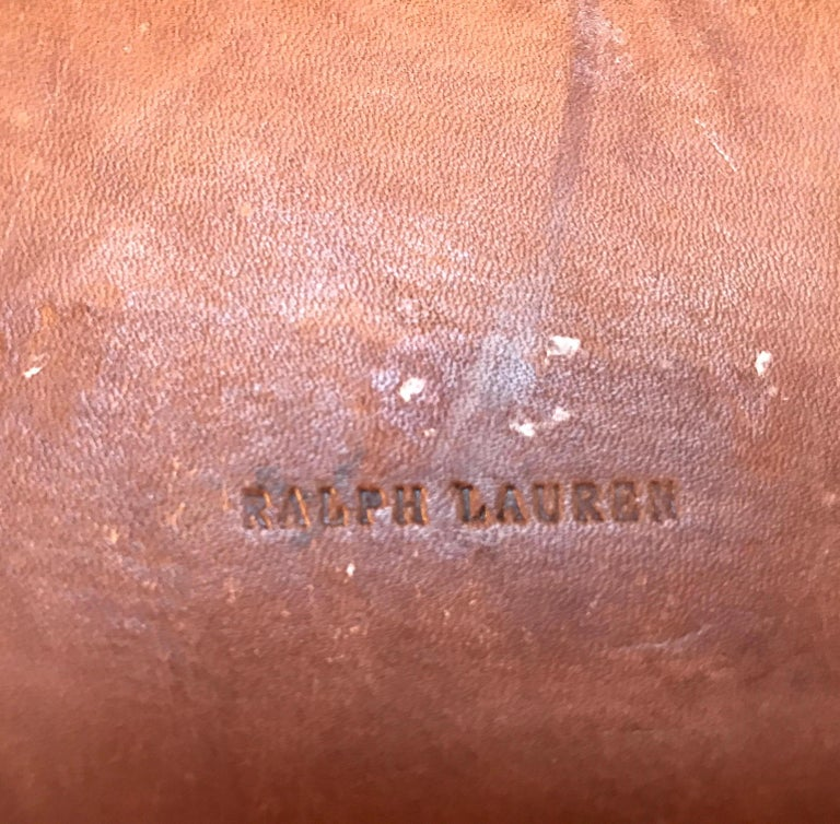 Set of Six Leather Ralph Lauren Chargers For Sale 3