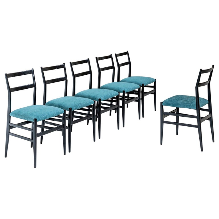 "Set of Six ""Leggera"" Chairs by Gio Ponti For Sale"