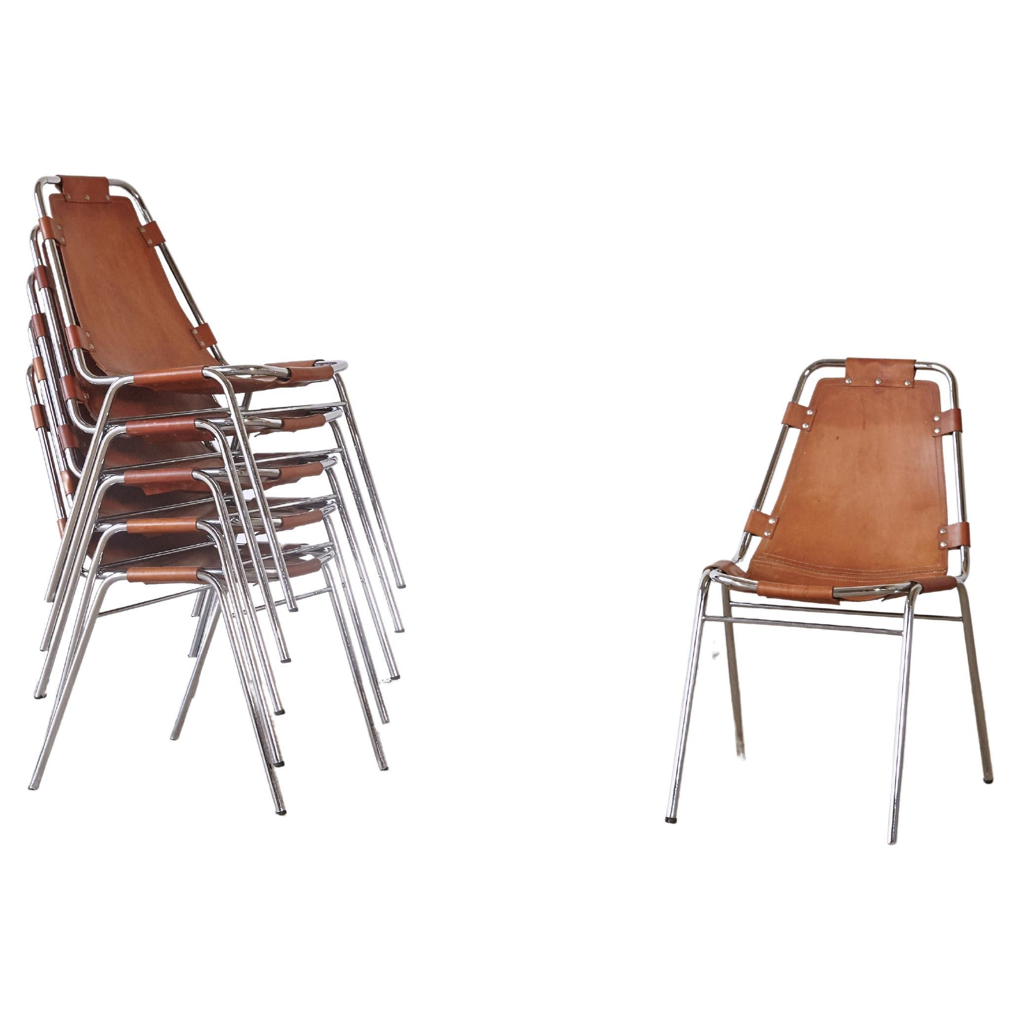 Set of Six 'Les Arcs' Chairs Selected by Charlotte Perriand, Italy/France, 1970s