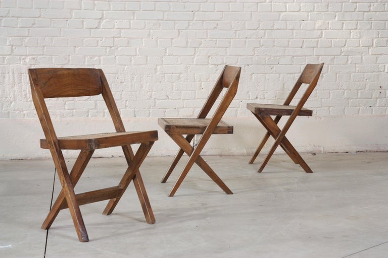 Indian Set of Six Library Chairs by Pierre Jeanneret For Sale