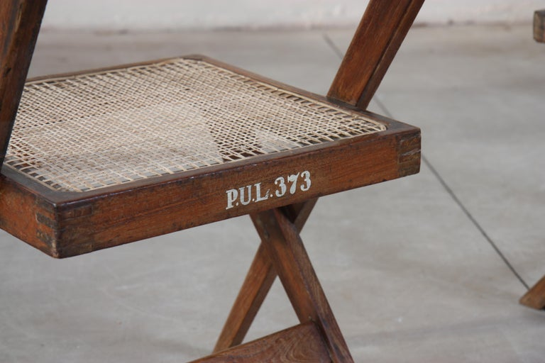 Set of Six Library Chairs by Pierre Jeanneret In Good Condition For Sale In Altwies, LU