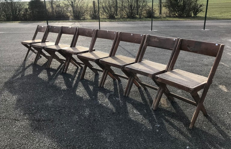 Mid-20th Century Set of Six Library Chairs by Pierre Jeanneret For Sale