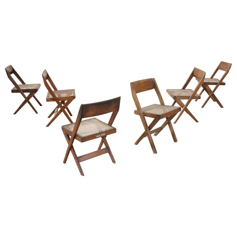 Set of Six Library Chairs by Pierre Jeanneret For Sale