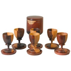 Set of Six Lignum Vitae Goblets and Six Coasters with Storage Box, circa 1960