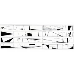 Set of Six Limited Edition Contemporary Black and White Drawings on Paper