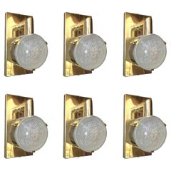 Set of Six Limited Edition Sconces W/ Double Frosted Murano Glass, circa 1990's