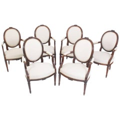 Set of Six Louis Seize-Style Armchairs, France, First Half of the 19th Century