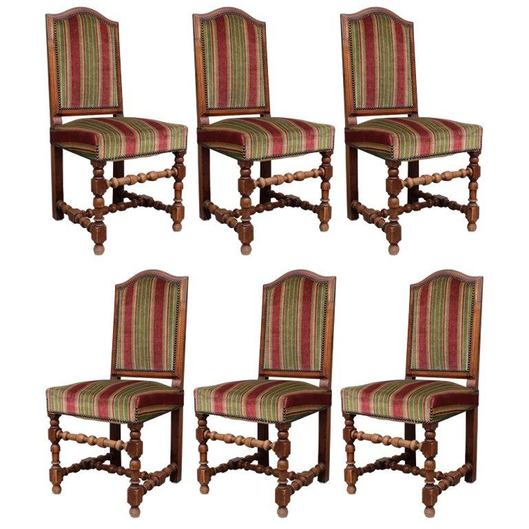Set of Six Louis XIII Style Dining Chairs For Sale