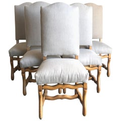 Set of Six Louis XIV Mutton Bone Stretcher Dining Chairs from France