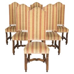 Set of Six Louis XIV Style Carved Walnut High Back Dining Side Chairs