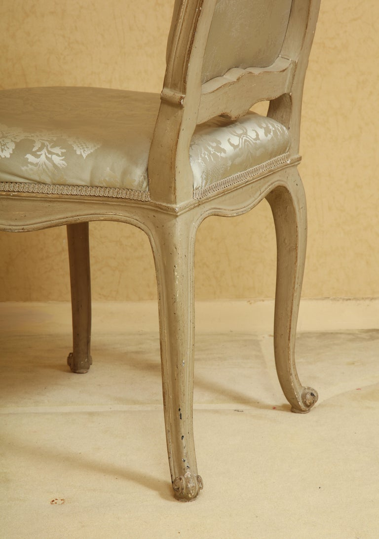Set of Six Louis XV A La Reine Style Grey Silk Grey Upholstered Dining Chairs For Sale 5