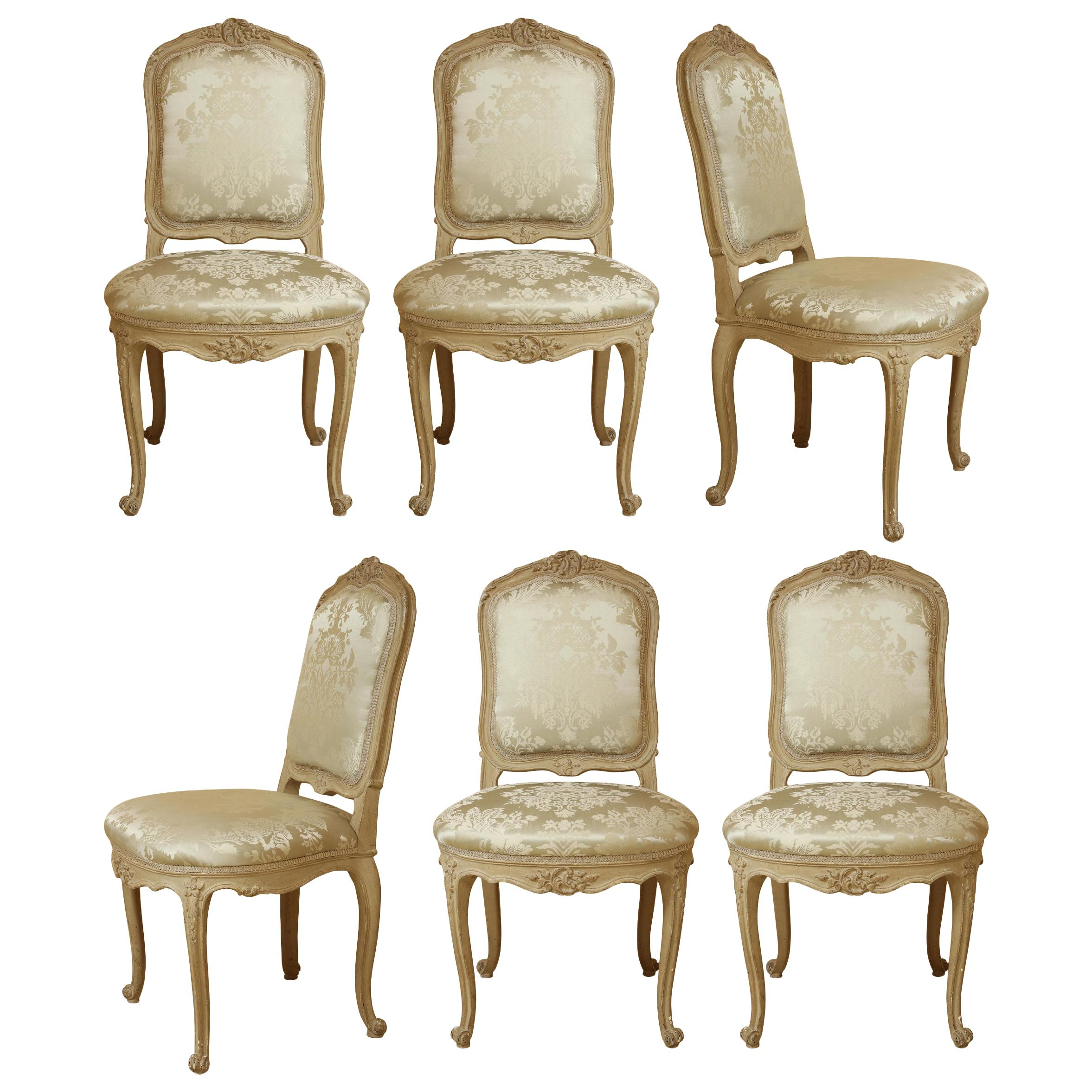 Set of Six Louis XV A La Reine Style Grey Silk Grey Upholstered Dining Chairs