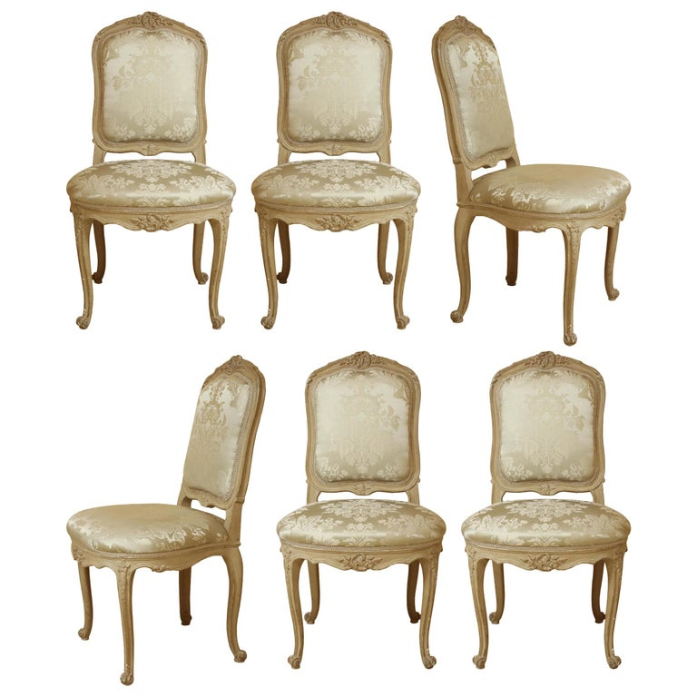 Set of Six Louis XV A La Reine Style Grey Silk Grey Upholstered Dining Chairs For Sale