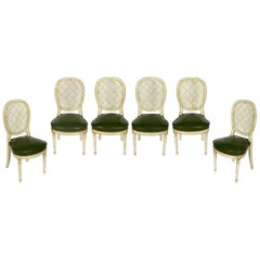 Set of Six Louis XVI Caned Back Green Leather Seat Dining Chairs