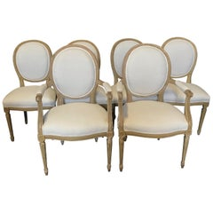 Set of Six Louis XVI Dining Chairs with Original Paint and Linen Upholstery