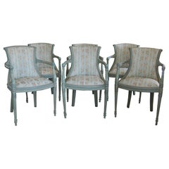 Set of Six Louis XVI Style Fauteuils in Green Paint, 19th Century