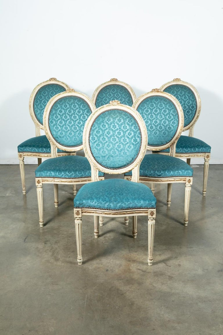 Set of Six Louis XVI Style Maison Jansen Parcel-Gilt and Painted Dining Chairs For Sale 8