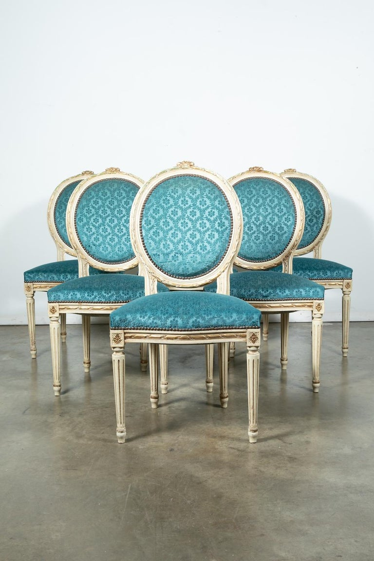 Set of Six Louis XVI Style Maison Jansen Parcel-Gilt and Painted Dining Chairs For Sale 9