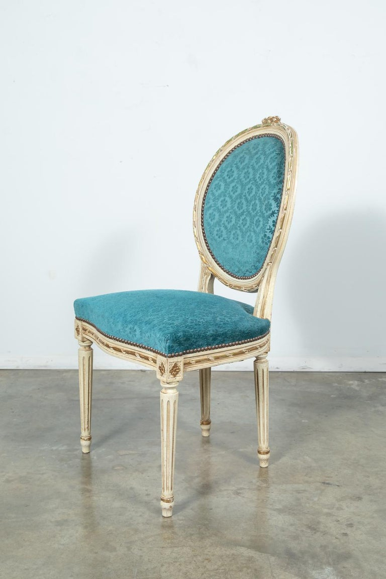 Set of Six Louis XVI Style Maison Jansen Parcel-Gilt and Painted Dining Chairs In Good Condition For Sale In Birmingham, AL