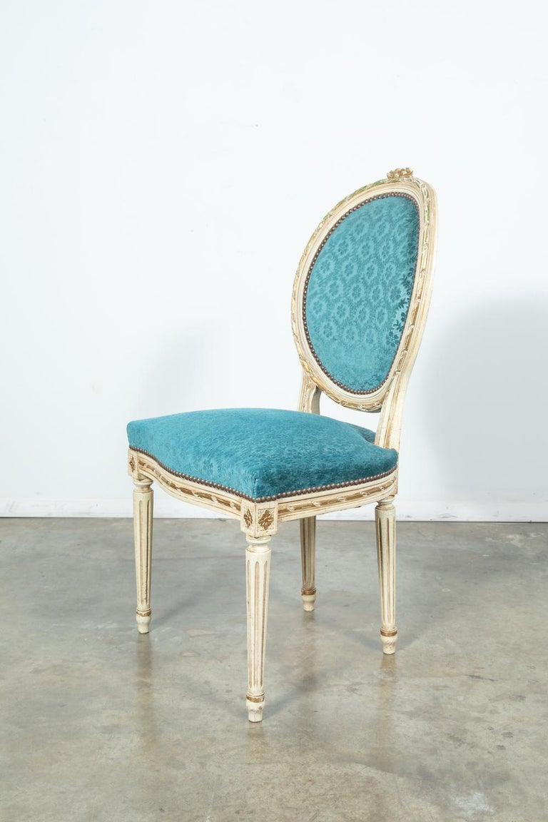 Mid-20th Century Set of Six Louis XVI Style Maison Jansen Parcel-Gilt and Painted Dining Chairs For Sale