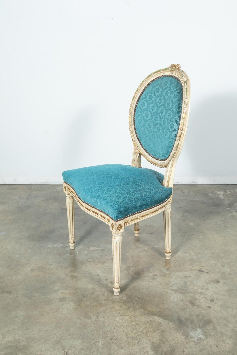 Set of Six Louis XVI Style Maison Jansen Parcel-Gilt and Painted Dining Chairs For Sale 1