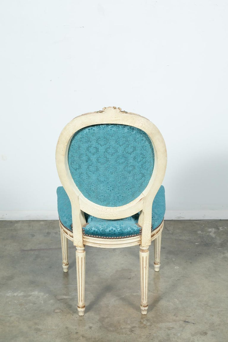 Set of Six Louis XVI Style Maison Jansen Parcel-Gilt and Painted Dining Chairs For Sale 4