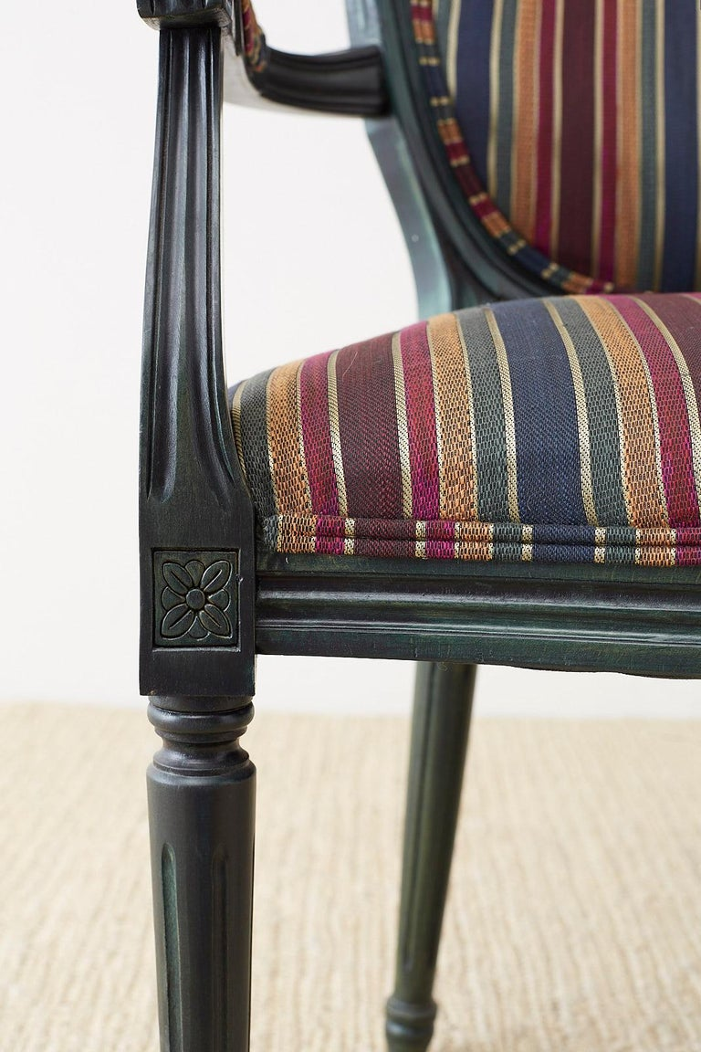 Set of Six Louis XVI Style Malachite Dining Armchairs For Sale 3