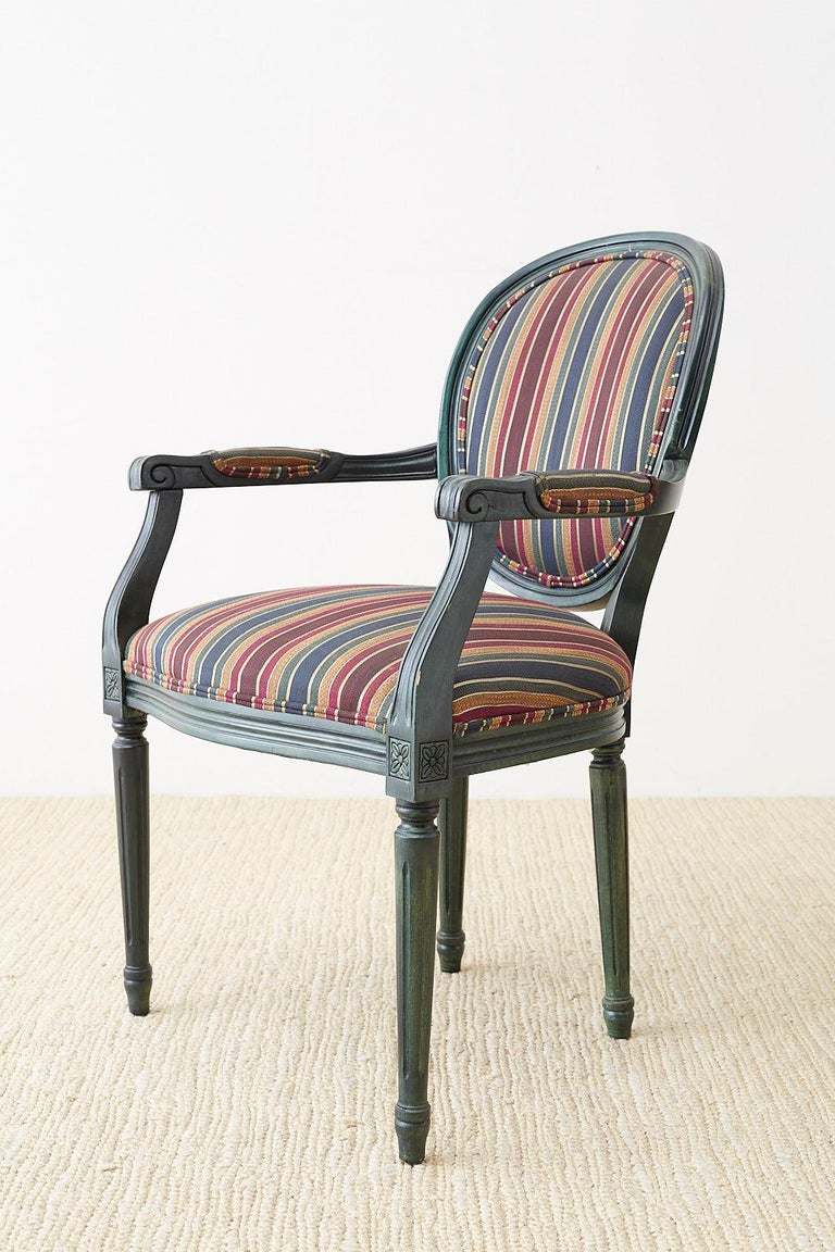 Set of Six Louis XVI Style Malachite Dining Armchairs For Sale 7