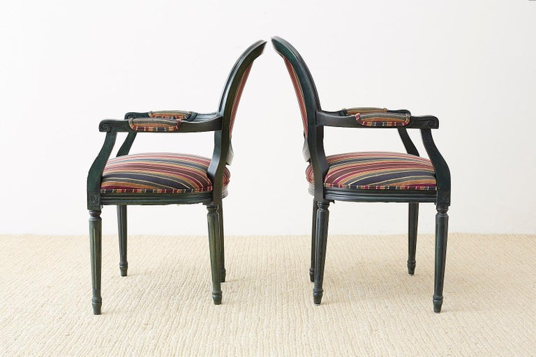 Set of Six Louis XVI Style Malachite Dining Armchairs For Sale 8