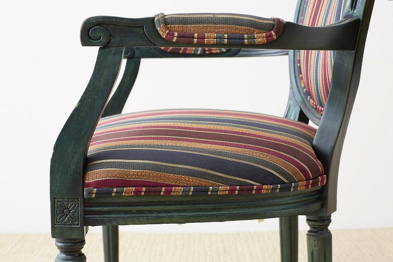 Set of Six Louis XVI Style Malachite Dining Armchairs For Sale 9