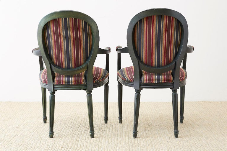 Set of Six Louis XVI Style Malachite Dining Armchairs For Sale 11