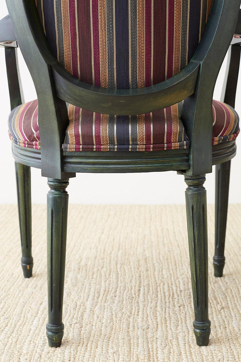 Set of Six Louis XVI Style Malachite Dining Armchairs For Sale 12