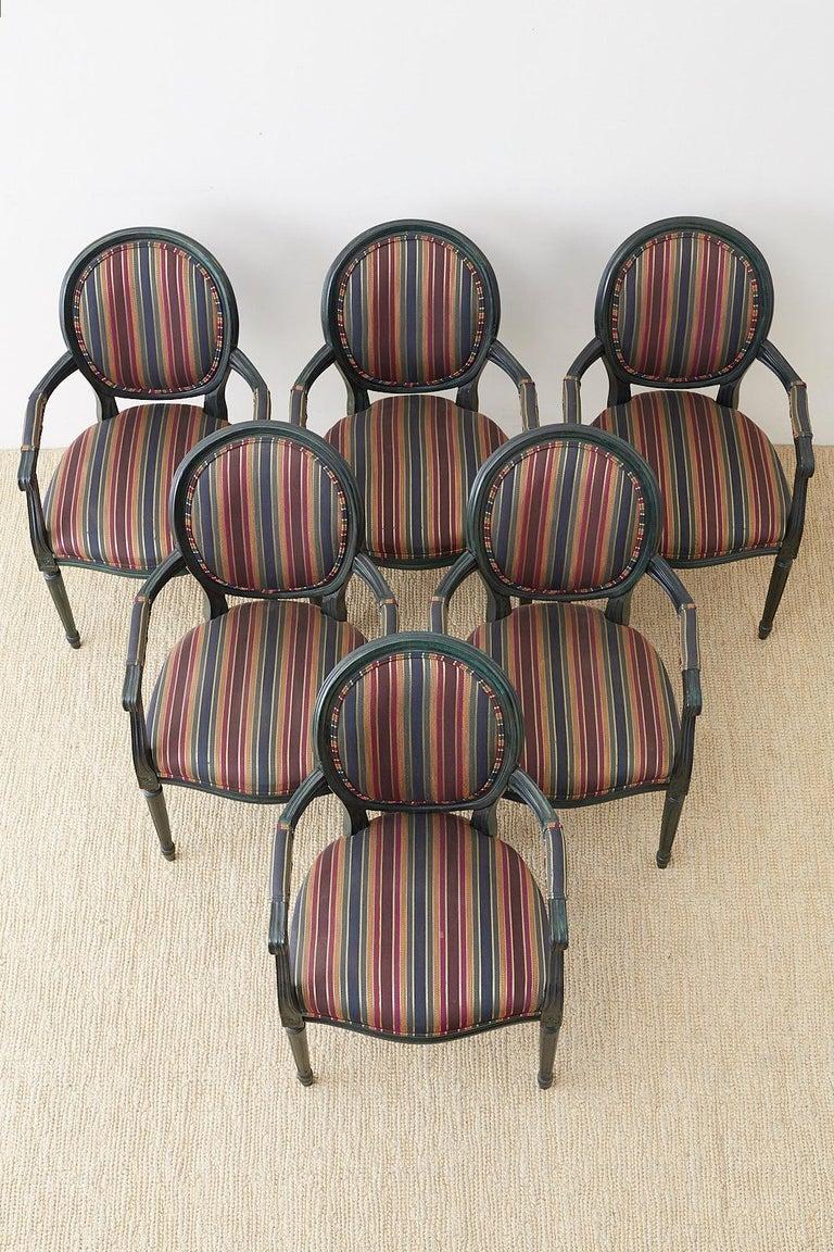 Italian Set of Six Louis XVI Style Malachite Dining Armchairs For Sale