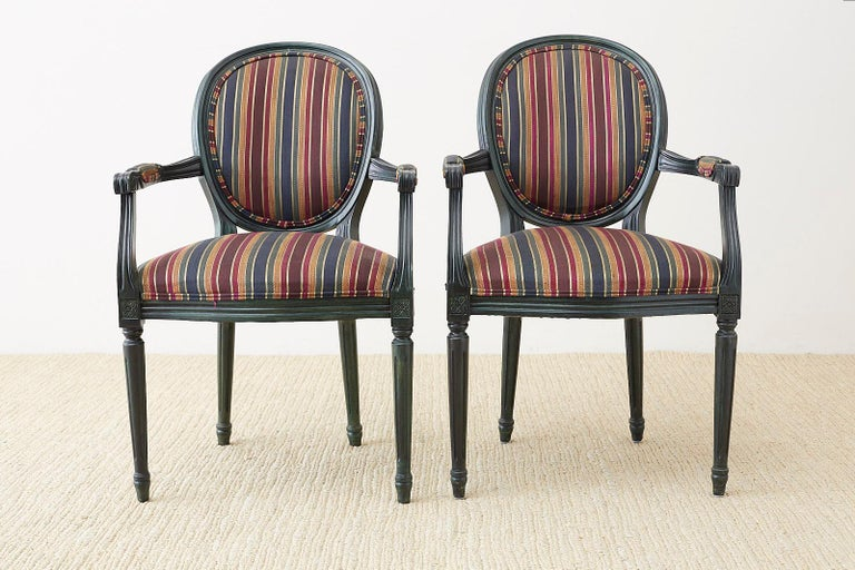 Hand-Carved Set of Six Louis XVI Style Malachite Dining Armchairs For Sale