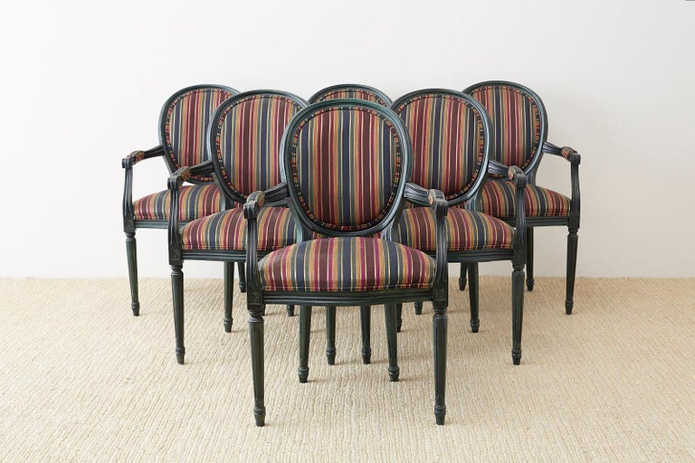 Set of Six Louis XVI Style Malachite Dining Armchairs In Good Condition For Sale In Oakland, CA