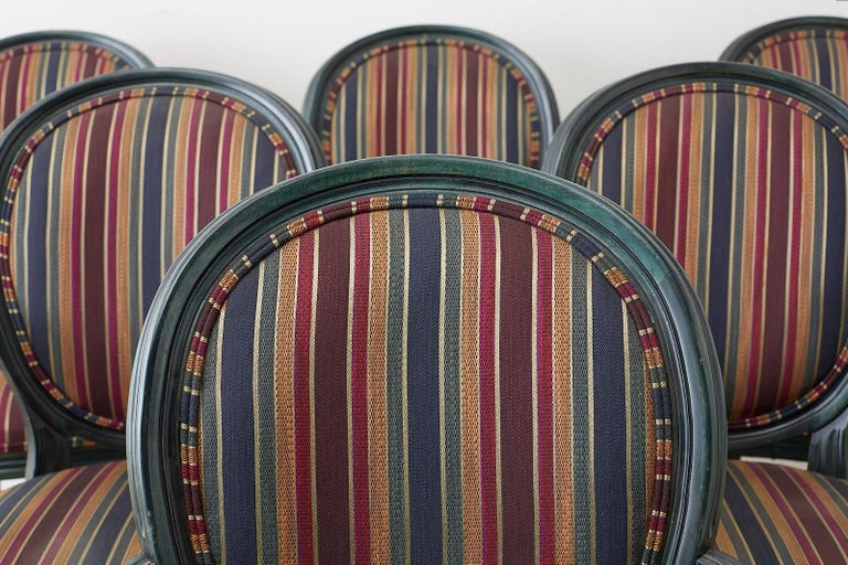 Fabric Set of Six Louis XVI Style Malachite Dining Armchairs For Sale