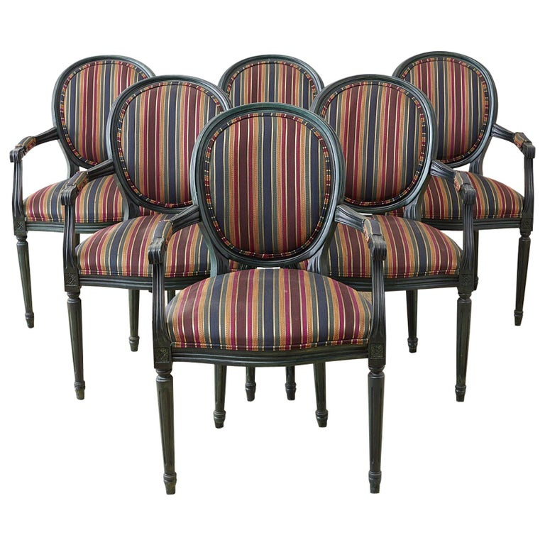 Set of Six Louis XVI Style Malachite Dining Armchairs For Sale