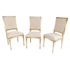 Set of Six Louis XVI Style Square Back Dining Chairs Star Medallions