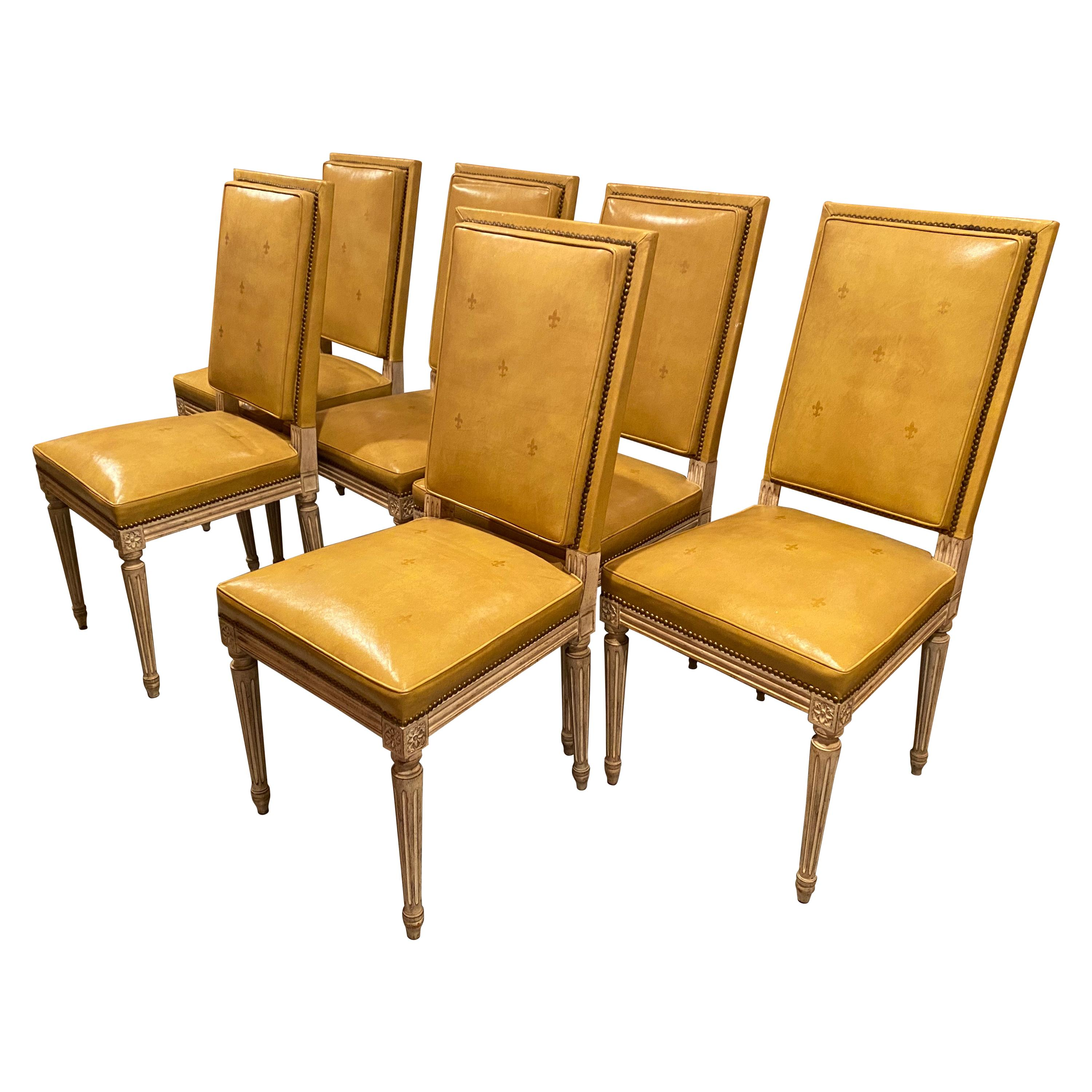 Set of Six Louis XVI Style Yellow Leather Upholstered Dining Chairs, 1920s