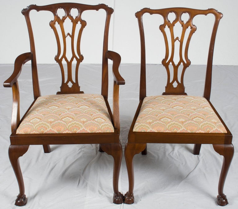 Chippendale Mahogany Dining Room Chairs: Set Of Six Mahogany Chippendale Style Ball And Claw Foot