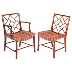 Set of Six Mahogany Cockpen Dining Chairs with Upholstered Seats