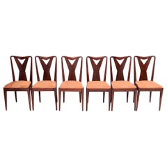 Set of Six Wooden Dining Chairs in the Style of Ico Parisi, Italy